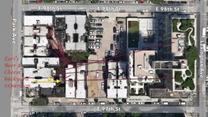 (click to expand photo). Red arrows are all buildings with air-sound access to the proposed backyard beer joint.